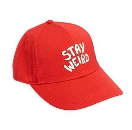 Kids Mini Rodini Stay Weird Embroidered Cap - Red