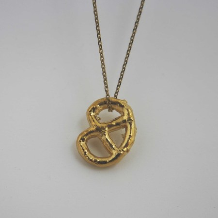 Gold Teeth Brooklyn Brass Pretzel Necklace