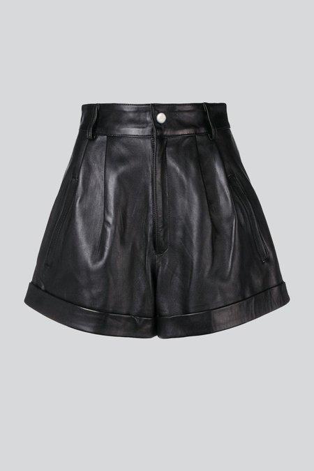 LEBRAND Leather Shorts - Black
