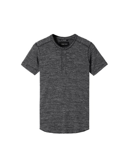 Wings+Horns 1x1 Slub SS Henley - M. Black