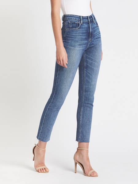 Paige Sarah Slim Raw Hem Jean - Mid Denim