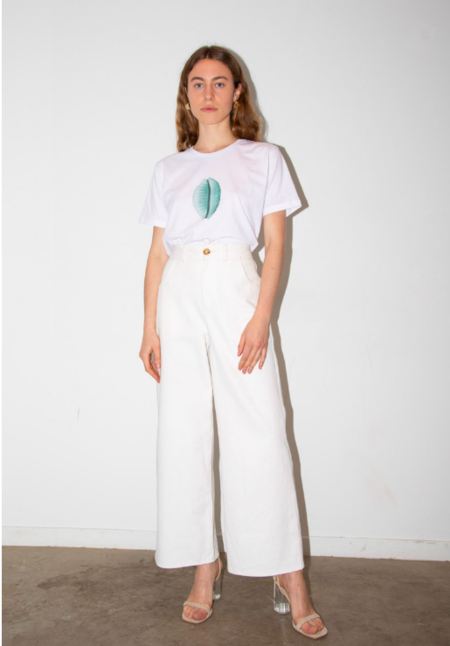 Aéryne Seashell T-shirt - White/blue