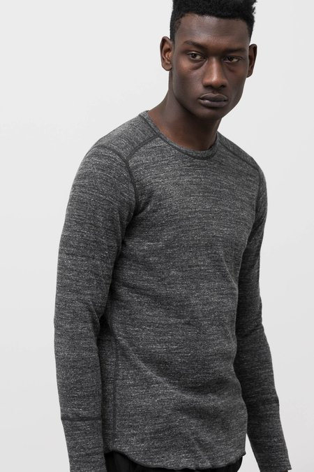 Wings+Horns 1 x 1 Slub LS Crewneck - Black