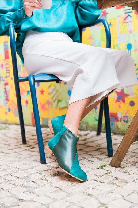 INLU Low-heel boots - Blue/Green Suede