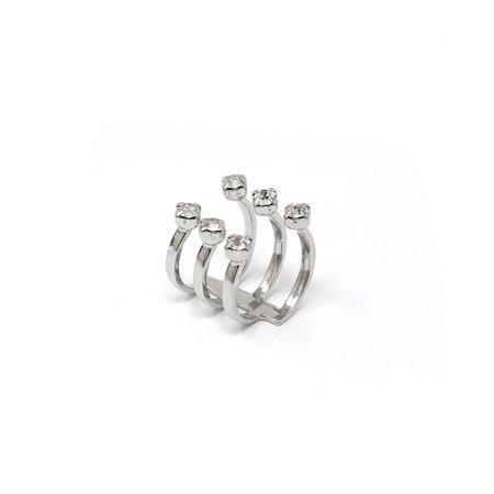 Joomi Lim Open 6 Crystals Ring - brass