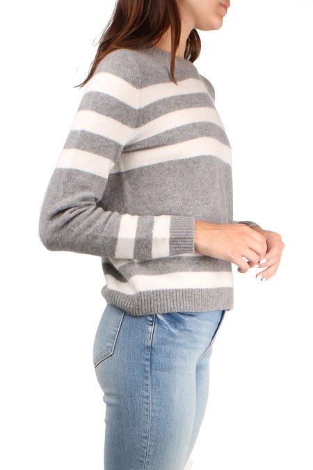 Allude Striped Sweater - Grey/White