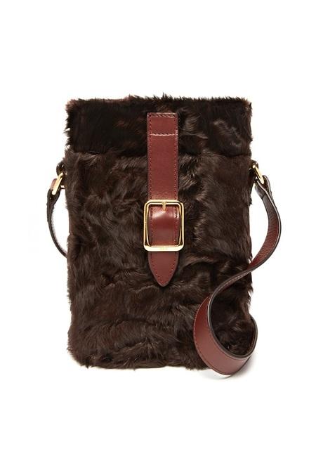Officina del Poggio Mini Safari Shearling Bag - Mogano