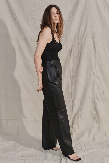 VEDA BESS LEATHER TROUSER - black