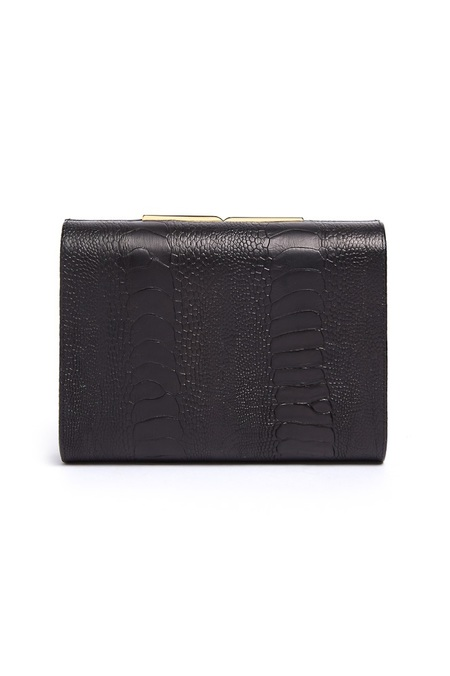 Officina del Poggio x Arizona Muse Toscano Sustainable Ostrich Leather Clutch - Nero/Nero