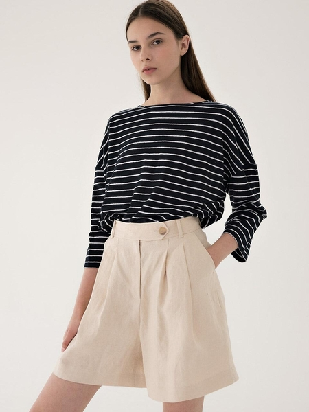 BLANK03 Linen Short Pants - Light Beige