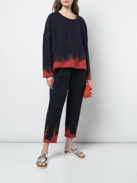 Raquel Allegra dip dye crew neck fleece sweater - navy