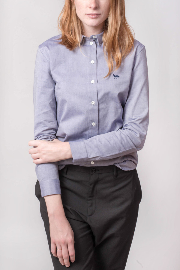 Maison Kitsune Oxford Classic Shirt With Embroidery Fox