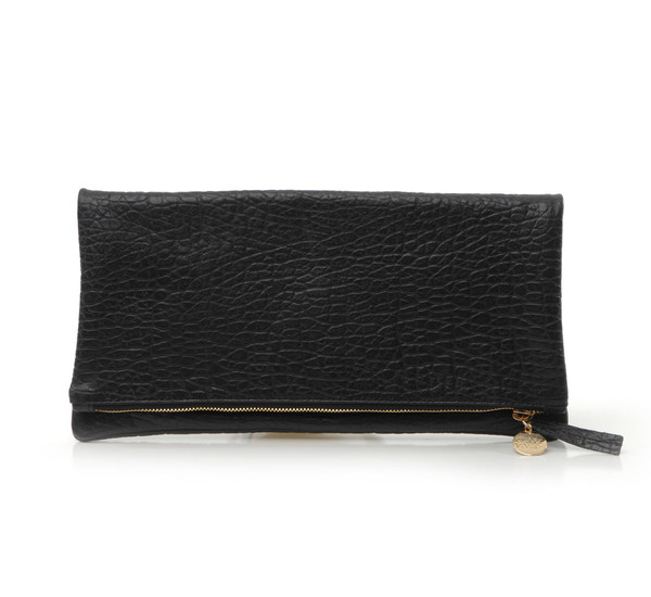 Clare V. Pebble Leather Foldover Clutch