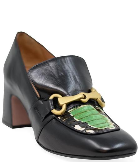 Madison Maison By Mara Bini Mid Heel Perla Loafer With Snake - Black