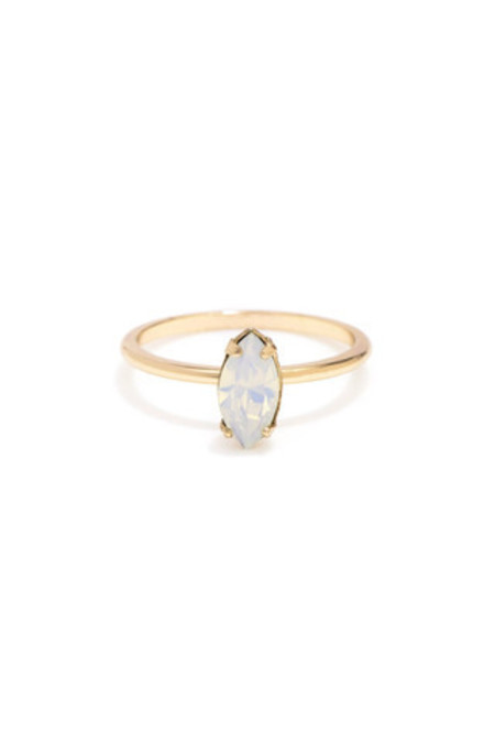 Bing Bang NYC Tiny Marquis Ring - Rose Gold Opal
