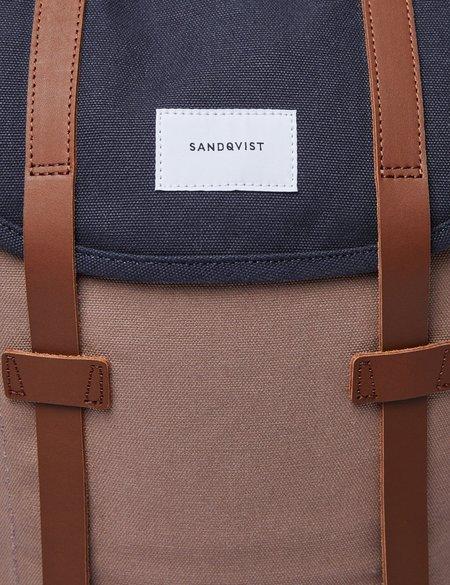 Sandqvist Stig Canvas Backpack - Navy Blue/Earth Brown