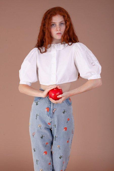 Vintage Victorian Short Sleeve Shirt - White
