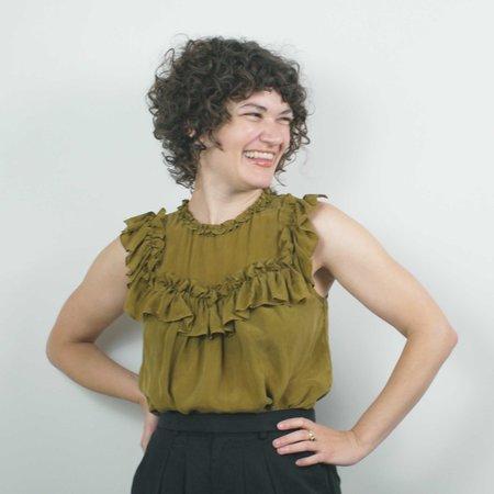Corey Lynn Calter Cassandra Ruffle Blouse - Olive