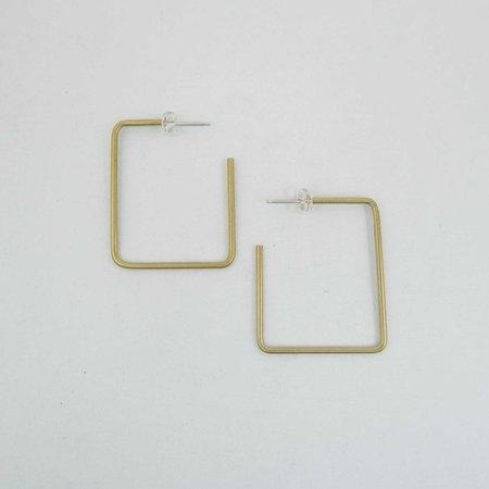 Natalie Joy Simple Square Hoop Earrings - Brass