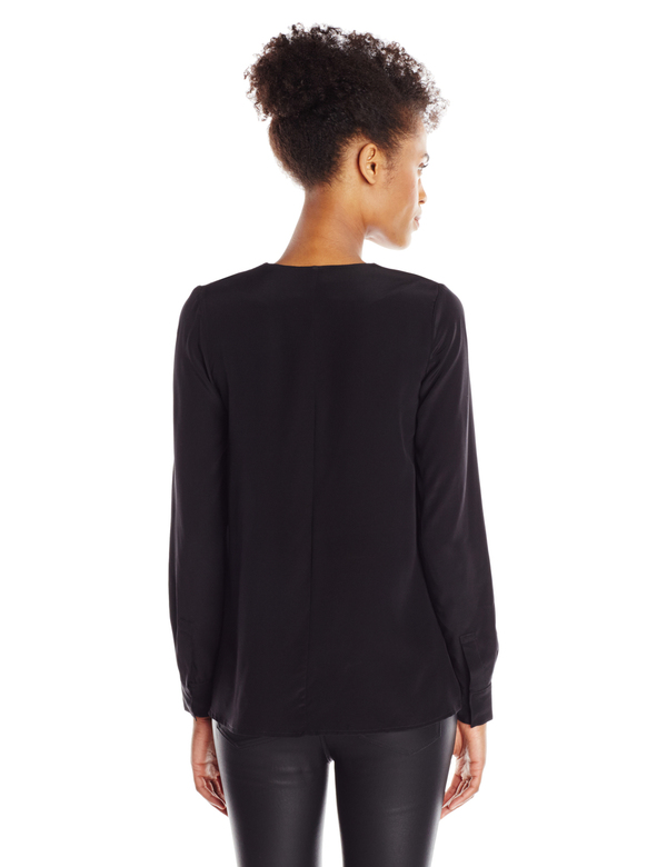 Vincetta Black Silk Vneck Blouse