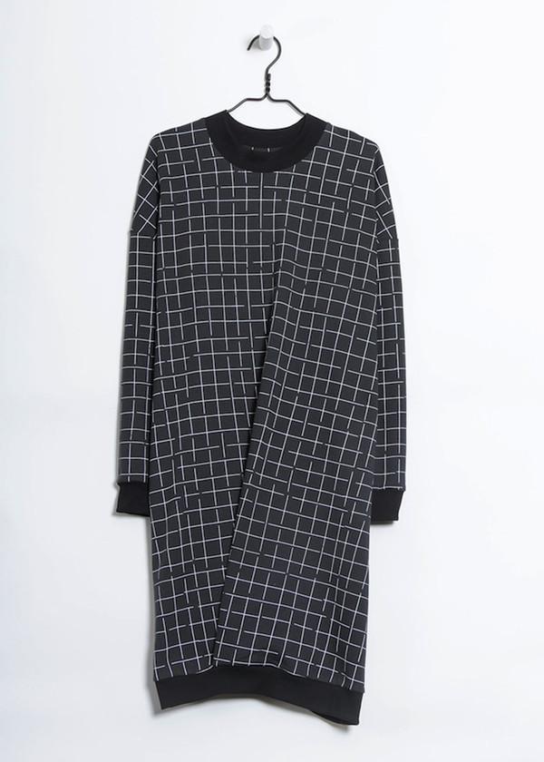 KOWTOW Anonymous Sweatshirt in White Grid on Dark Teal