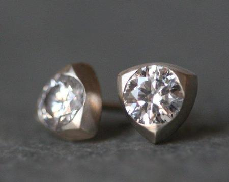 Michelle Chang Triangle Studs - Sterling Silver/White Sapphire