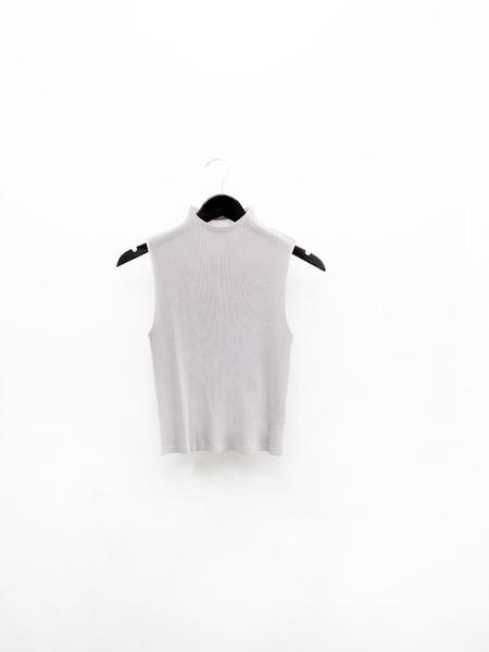 Issey Miyake Mist Micropleat Mock Neck Top - Warm Gray