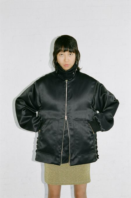 Nomia LACED AVIATOR JACKET - BLACK SATIN