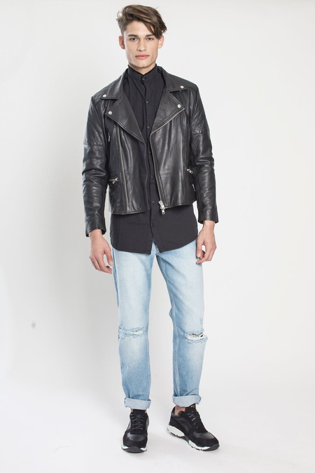 Men's TOURNE DE TRANSMISSION Existence Leather Biker Jacket in Black