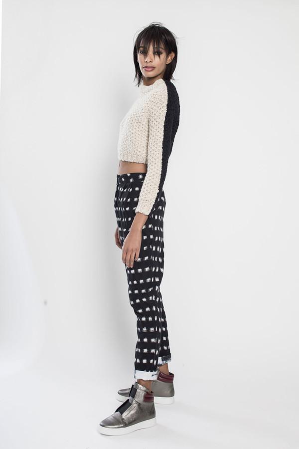 R/H Gaga Knit Sweater in Cream/Black