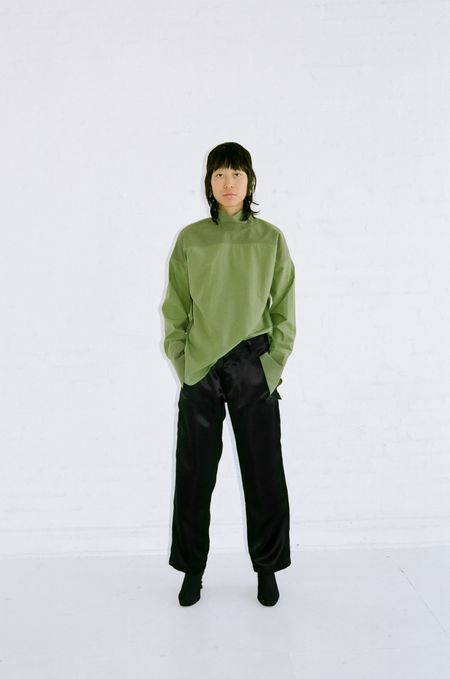 Nomia OVERSIZE MOCKNECK SHIRT - KHAKI/BOTTLE GREEN