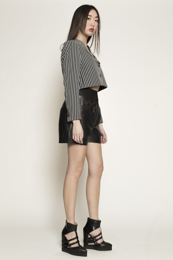 Dzojchen High Waisted Leather Shorts in Black Leather