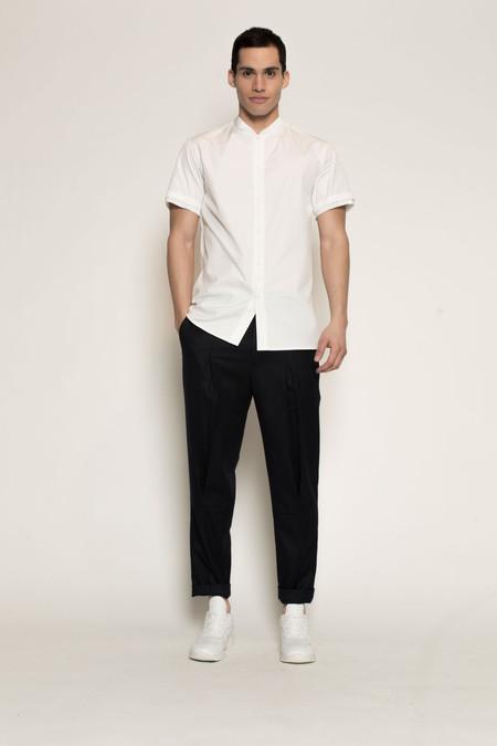 Men's Kenneth Ning Pleated Grosgrain Rib Baseball Shirt in White