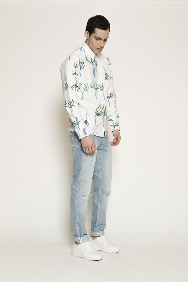 Men's Soulland Totally Shirt with Allover Print in Multi