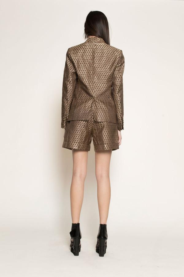 Dzojchen Tux Lapel Tailored Blazer in Gold Diamond Brocade