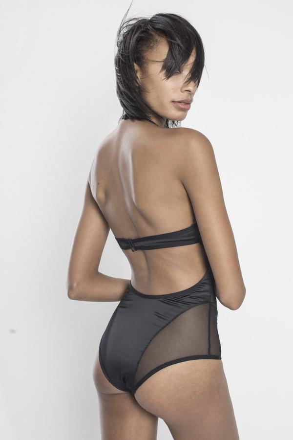 CHROMAT Venus Satin Bodysuit in Black