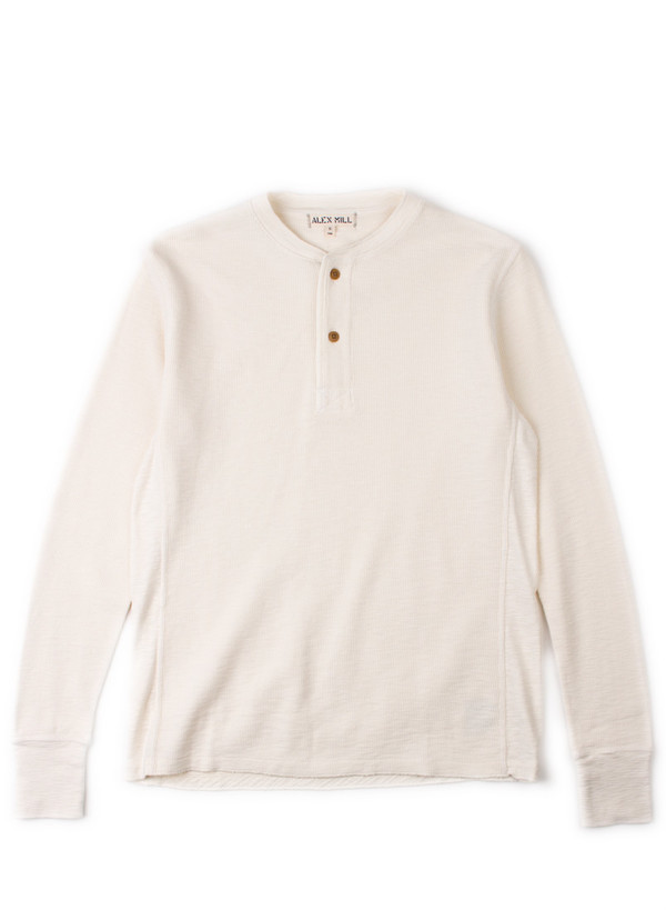 Men's Alex Mill Crew Neck Waffle Henley Natural