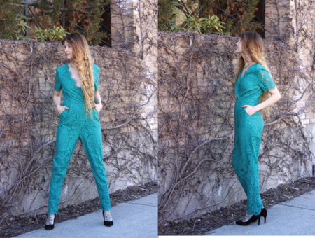 Darling Roisin Lace Jumpsuit (Emerald)