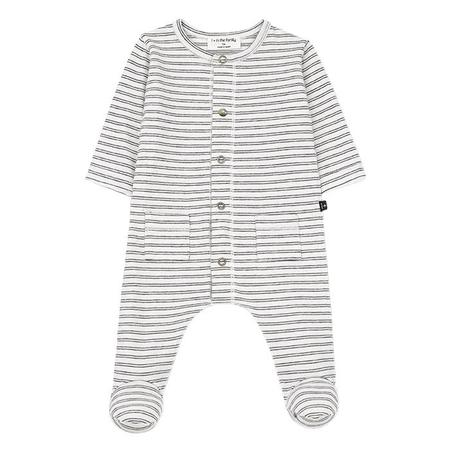 KIDS 1+ In The Family Girona Long Sleeved Jumpsuit With Feet - White With Black Stripes