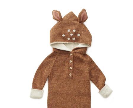 kids Oeuf Bambi Animal Hooded Jumper - brown