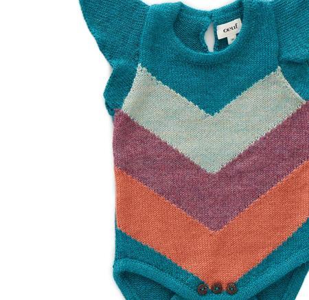 kids Oeuf Chevron Knit Onesie - blue