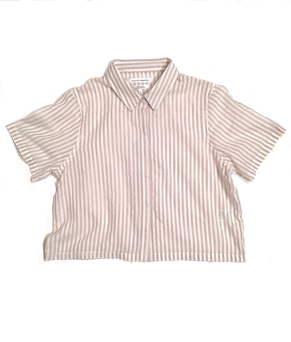 Native Youth Cropped Linen Stripe Shirt