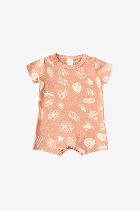 Baby North Of West Jungle Organic Tee Romper - Almond/Natural