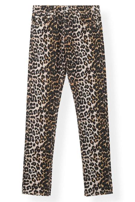Ganni Printed Denim Pants - Leopard