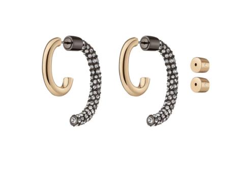 Demarson Pave Luna Earring Set - Gold/Gunmetal