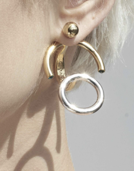 Demarson CONVERTIBLE Nova Ring/Earring Set - Gold/Silver