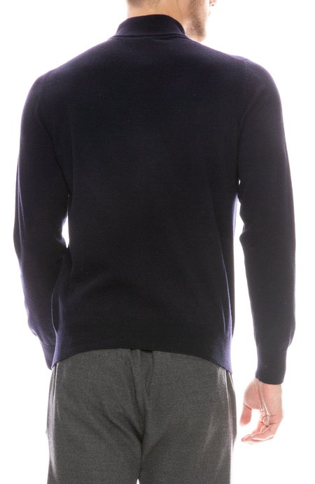 04651/ Mock Neck Cashmere Sweater - Navy