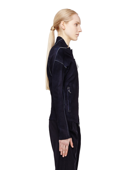 Isaac Sellam Leather Jacket with Seam Details - Navy Blue