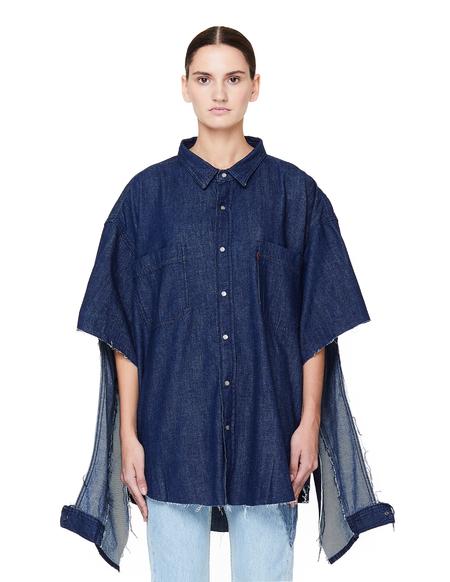 Vetements Oversized Denim Shirt with Cuts - Navy Blue