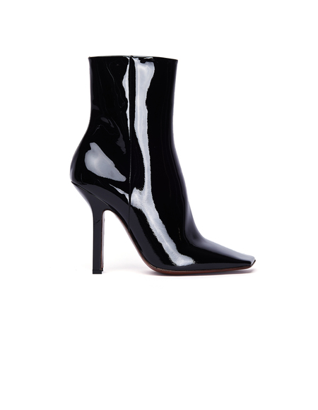 Vetements Boomerang Patent Leather Ankle Boots - Black
